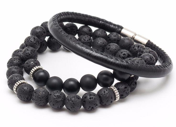 Mens Armbands – Set 3 bracelets male 03/01 – a unique product by Blackif on DaWanda