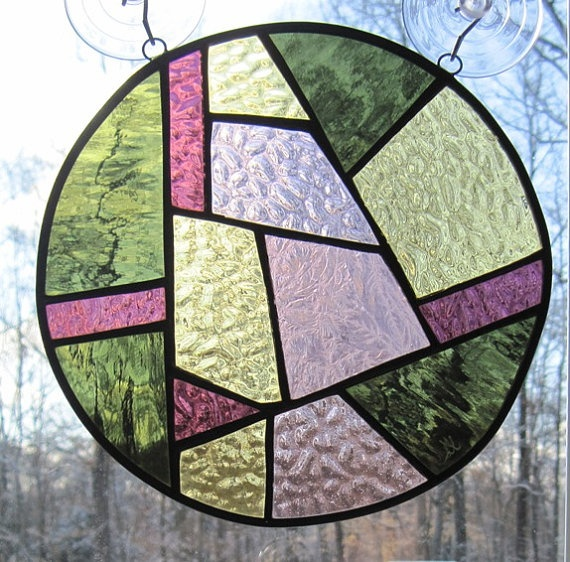 Stained Glass Round Abstract Panel -  50 % OFF