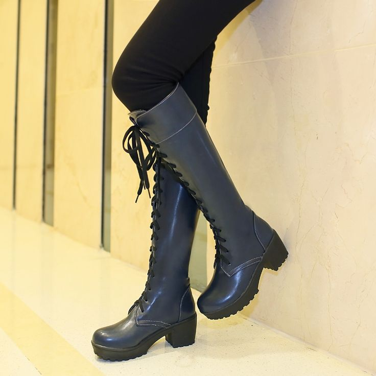 31.37$  Watch now - http://ali7jf.shopchina.info/go.php?t=32410307159 - 2016 The Autumn Winter New Fashion Women Thick High-heeled Platform Up Knee High Boots Lace Up Martins Botas Plus Size  #magazineonlinewebsite