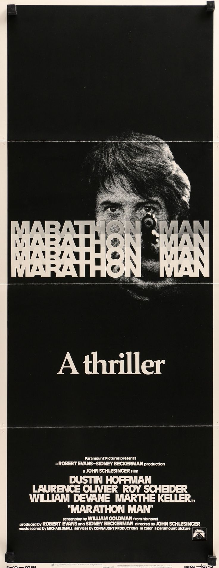 """Film: Marathon Man (1976) Year poster printed: 1976 Country: USA Size: 14""""x 36"""" This is an original, insert movie poster from 1976 for Marathon Man starring Dustin Hoffman, Laurence Olivier, Roy Schei"""