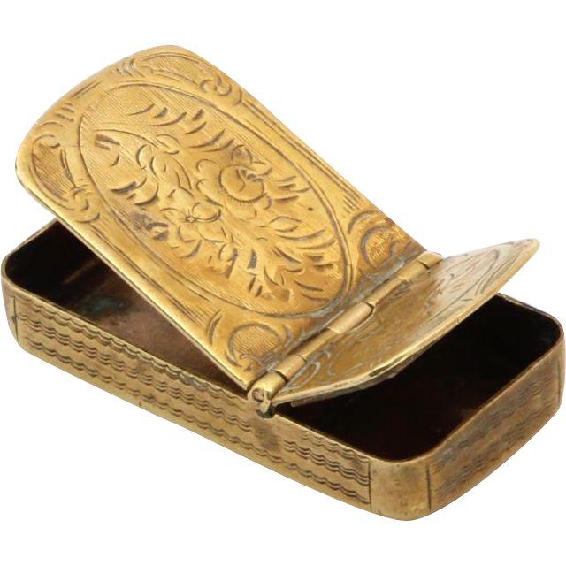 Antique 1790 Brass Vesta Case Artist etching guilloche matchbox 18th Century.