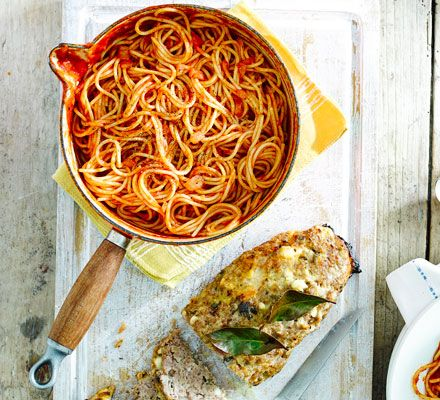 Two classics combined, meatloaf flavoured with sage and feta plus pasta and tomato sauce - guaranteed to please