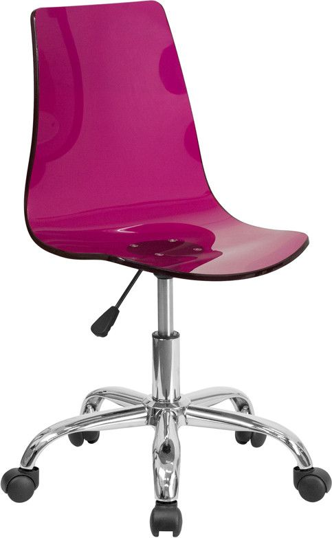 Contemporary Transparent Purple Acrylic Task Chair with Chrome Base