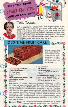 Retro Fruit Cake recipe from Betty Crocker - research for turning my steamed pudding into cupcakes...