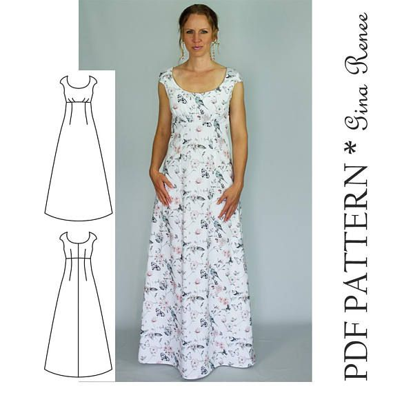 Maxi Dress Sewing PDF Pattern – Womens Maxi Dress Pattern – Maxi Dress patterns for Women