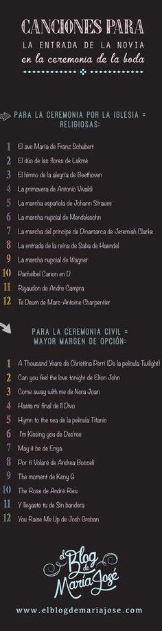 Canciones para la entrada de la novia en la ceremonia de la boda