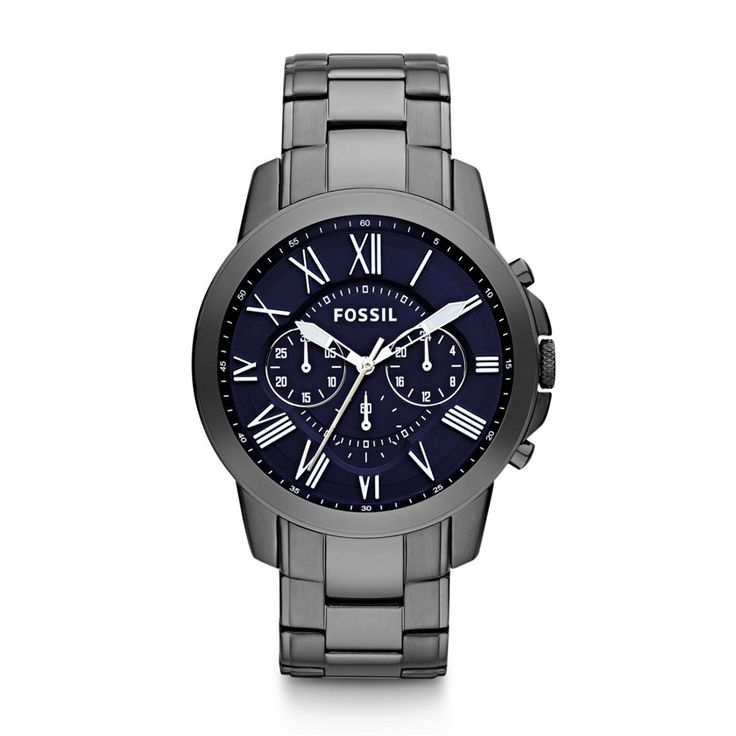 THIS ONE!  HANDS DOWN!  $145. I'm quite in love with gunmetal grey and the blue dial face--and the fact that it's technically a men's. :) Grant Chronograph Stainless Steel Watch - Smoke FS4831 | FOSSIL®