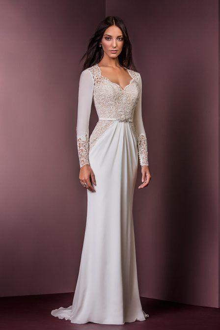 illusion sheath dress by ellis bridal wedding gown