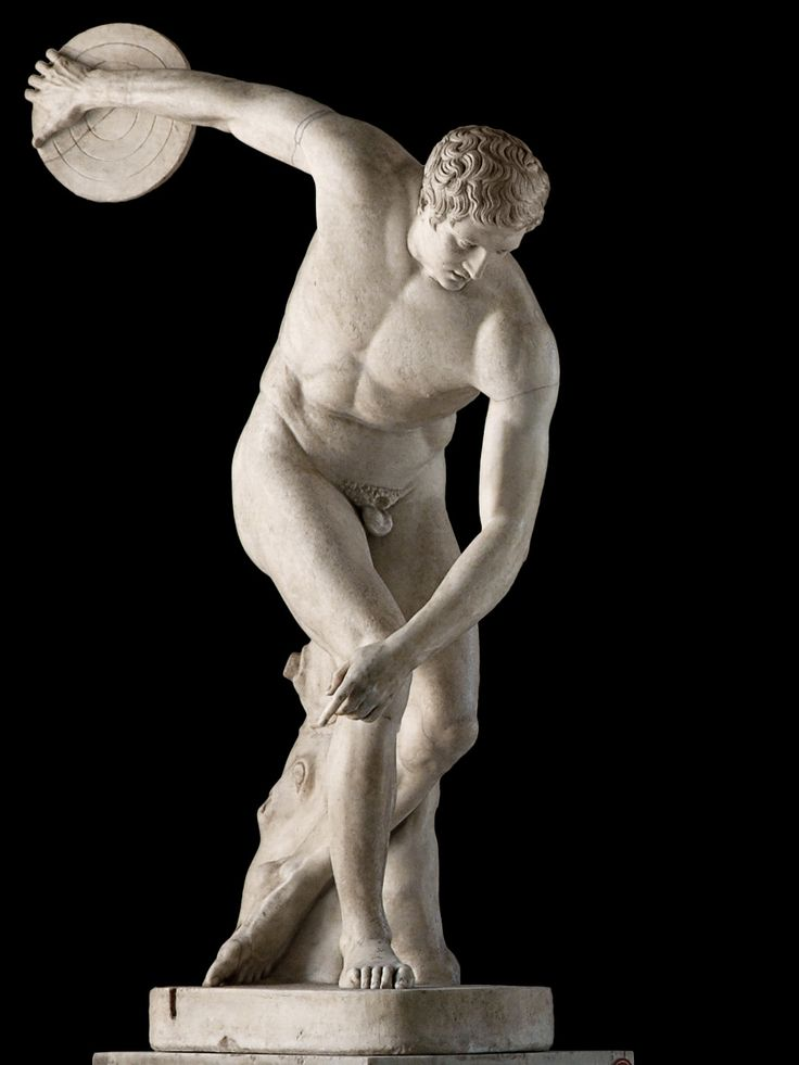 Statue of a discobolus throwing the discus. Marble. Roman copy of the 2nd century CE after a bronze original by Myron of about 460 BCE. Inv. No. 2349. Rome, Vatican Museums, Pius-Clementine Museum, Room of the Biga, 21