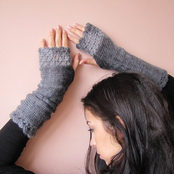 Feminine fingerless mittens gently hand knitted in light weight and warm wool/acrylic yarn.    Crochet edges and color shades make them elegant and