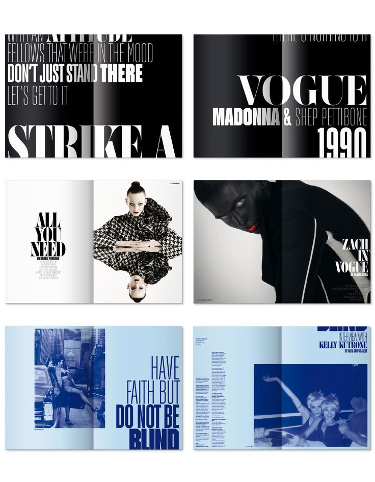 Fashion magazine // layout // black and white // across page