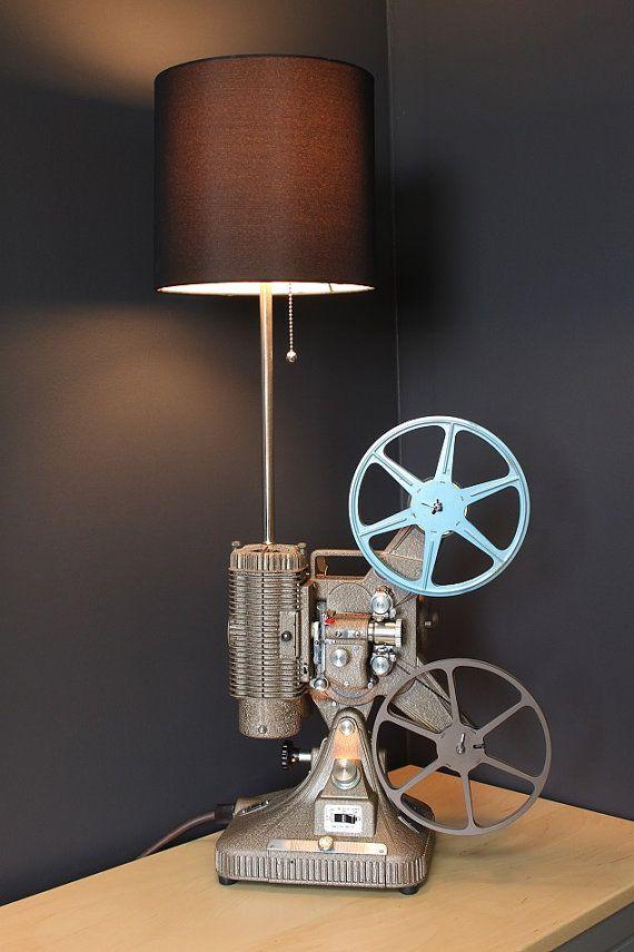 Vintage 8mm projector Table Lamp / Desk Lamp Keystone Regal by LightAndTimeArt…