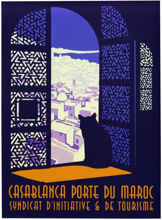 Cartel del viaje del vintage Casablanca Marruecos
