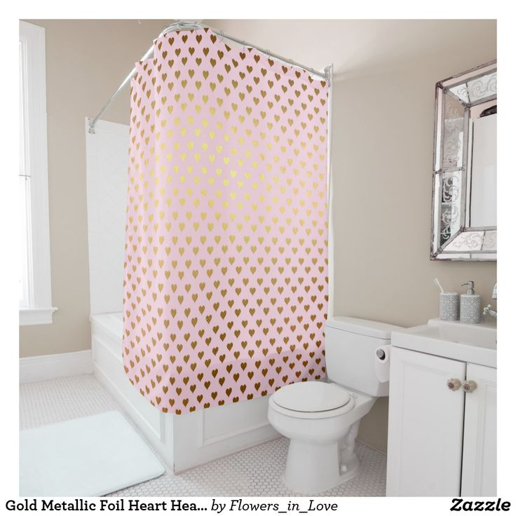 Gold Metallic Foil Heart Hearts Love Pink  Modern Shower Curtain