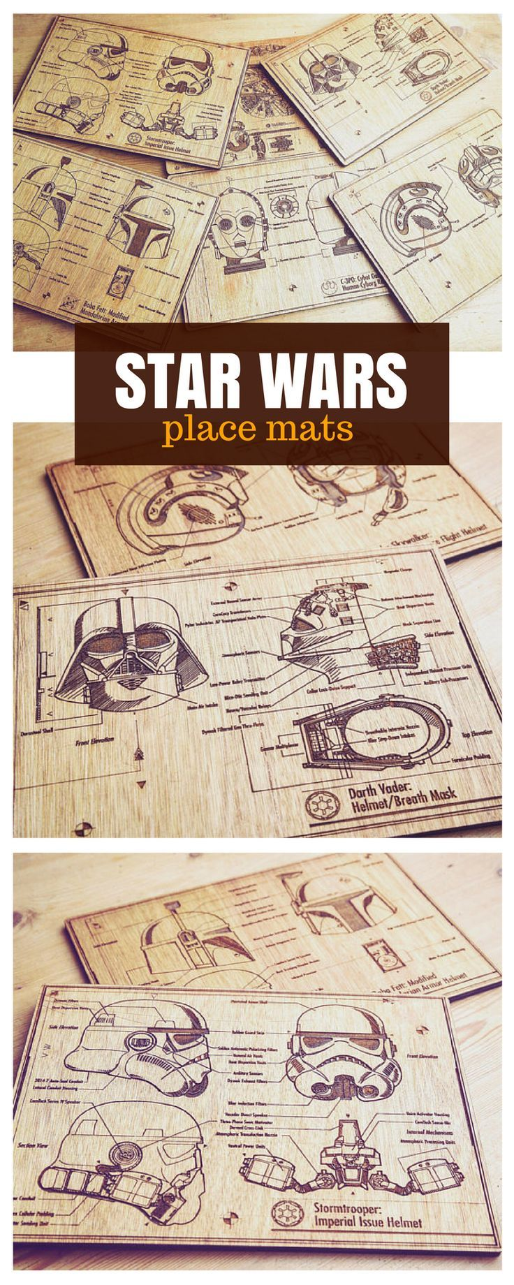 Star Wars wooden blueprint place mats to protect your table from spills, spillage and scratch. #starwars #table #kitchen #homedecor #placemats #commissionlink