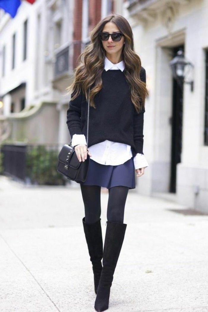 Moderne jupe longue pas cher jupe patineuse noire cool à porter