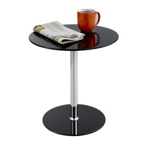 black glass side table