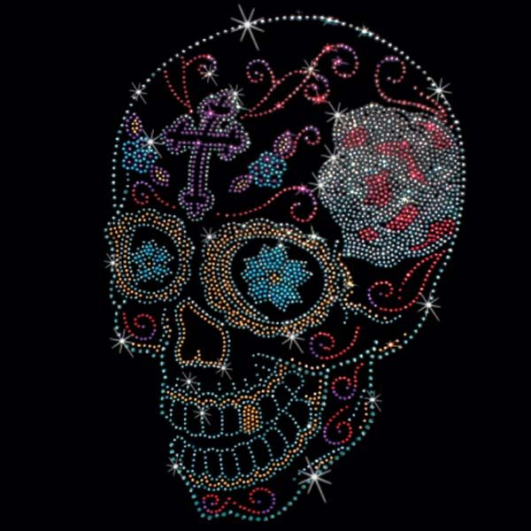 Sugar Skulls Rhinestone/Rhinestud t-shirts. $25.00.  As easy as 1…2….3… 1. Pick a design & shirt style (long-, short-sleeves, & color) 2. Tell us where to print it (front or back) 3. You enjoy it!  Click here for more Skull prints; http://www.909threads.com/Sugar-Skulls-p/15476.htm.