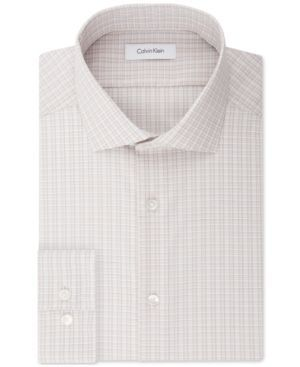 Calvin Klein Steel Men's Slim-Fit Non-Iron Stretch Performance Tan Check Dress Shirt - Tan/Beige 16 32/33