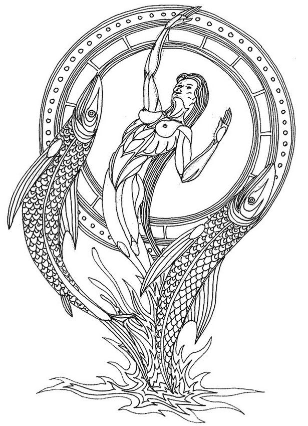 Pisces zodiac adult colouring