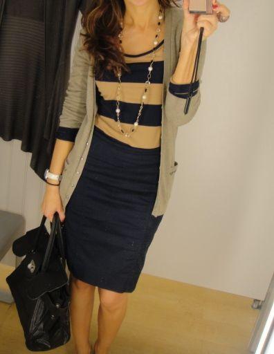 navy pencil skirt + navy & tan shirt=)