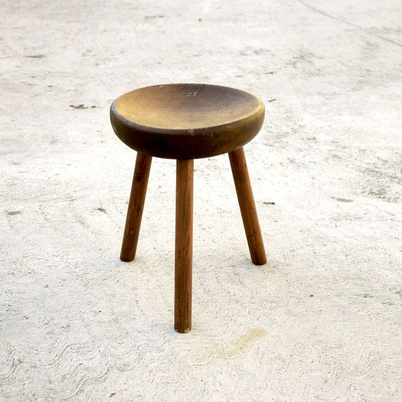 Milking Bench Part - 41: WOOD TRIPOD STOOL, Three Leg Stool Carved Wood Minimalist Design Vintage Milking  Stool Tripod Stool