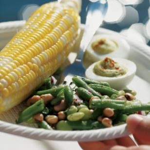 Three-Bean Salad:  This three-bean salad has far less sugar than typical versions. We opt for a combination of canned and frozen beans (for convenience) along with fresh green beans for their great taste and texture.