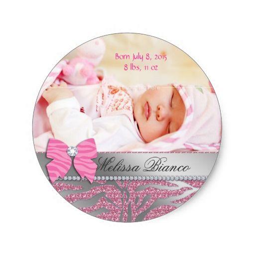 Zebra Cute Bow Baby Girl Announcement Sticker