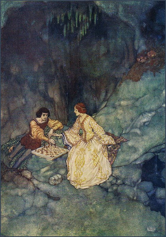 "Edmund Dulac SHAKESPEARE`S COMEDY OF THE TEMPEST (1908) ""Miranda- Sweet lord, you play me false"""
