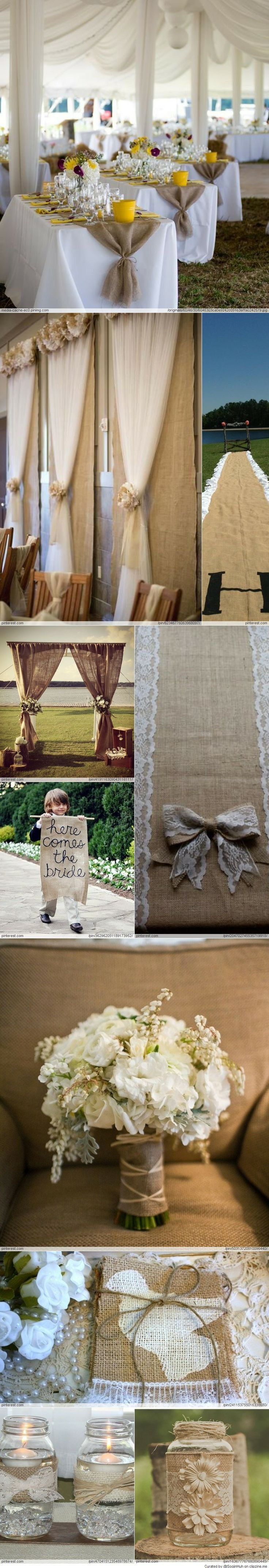 I like the burlap, net, flowers idea for curtains.