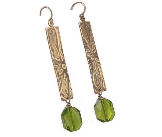 Antique Brass Earrings with Olive Crystal Drops  by RoxysJewelry, $34.00