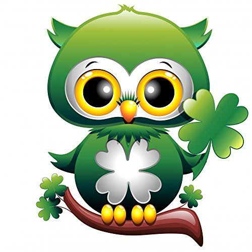 Baby owl st patrick owl cartoon puppy with quadrifoglio - Immagini di st patrick day ...
