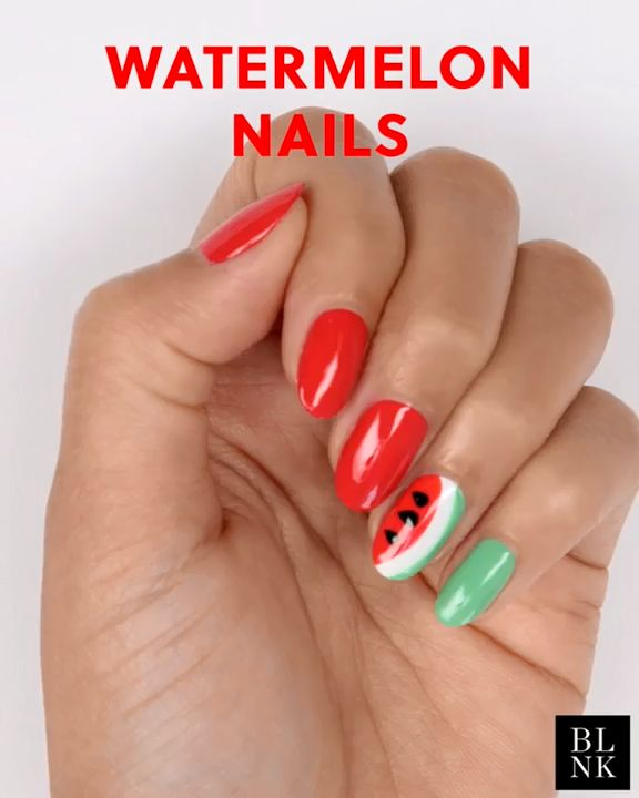 Watermelon Nails - Follow for More DIY Ideas