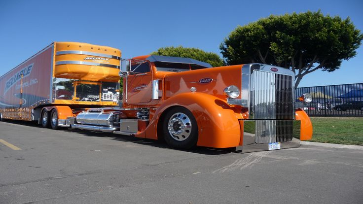 Custom Big Rigs | Wallpapers Peterbilt Truck Custom Reliable Big Rig Orange Cab Pictures