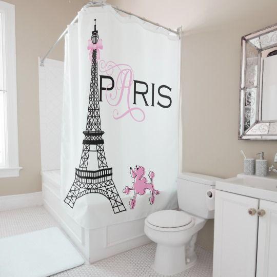 Pink Bow Eiffel Tower Paris France Poodle Custom Shower Curtain Zazzle Com Custom Shower Curtains Shower Curtain Personalized Bathroom