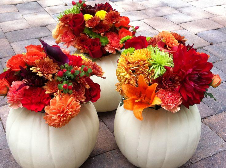 White Pumpkin Floral Centerpiece : White pumpkin centerpiece fall wedding