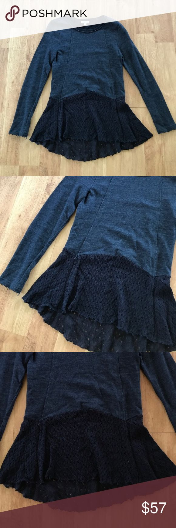 Anthropologie Navy Long Sleeve Top Size Small ⚜️I love receiving offers through the offer button!⚜️ Good condition, as seen in pictures! Fast same or next day shipping!📨 Open to offers but I don't negotiate in the comments so please use the offer button😊 Anthropologie Tops