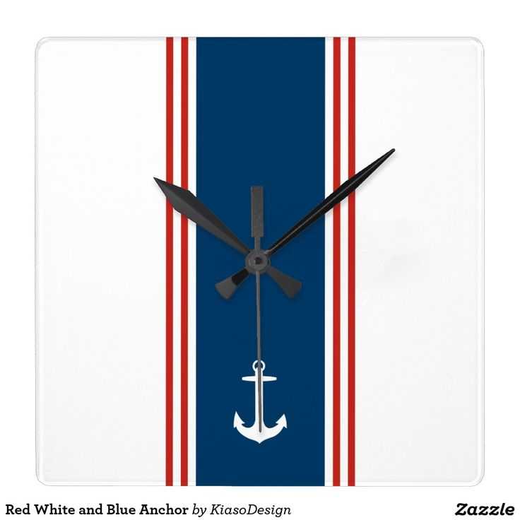 Red White and Blue Anchor Square Wallclocks