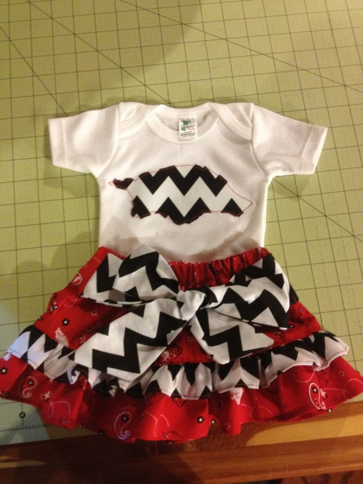 Arkansas Razorback Skirt Outfit by LadybugCraftBoutique on Etsy, $40.00