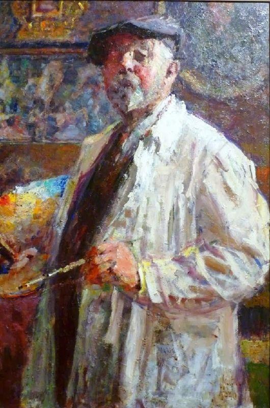 Autoportrait. Ludvík Kuba (1863- †1956 Prague) Czech landscape painter, musician, writer, professor Academy of Fine Arts. a Represen-  tative of the Late-Impressionism.