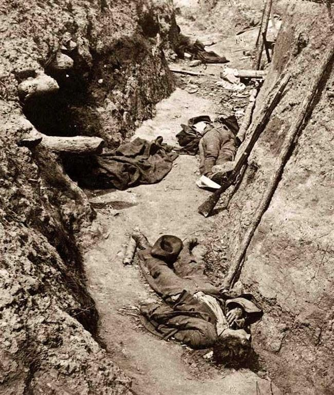 ACW Photo: Petersburg, Virginia. Dead Confederate soldiers in trenches of Fort…