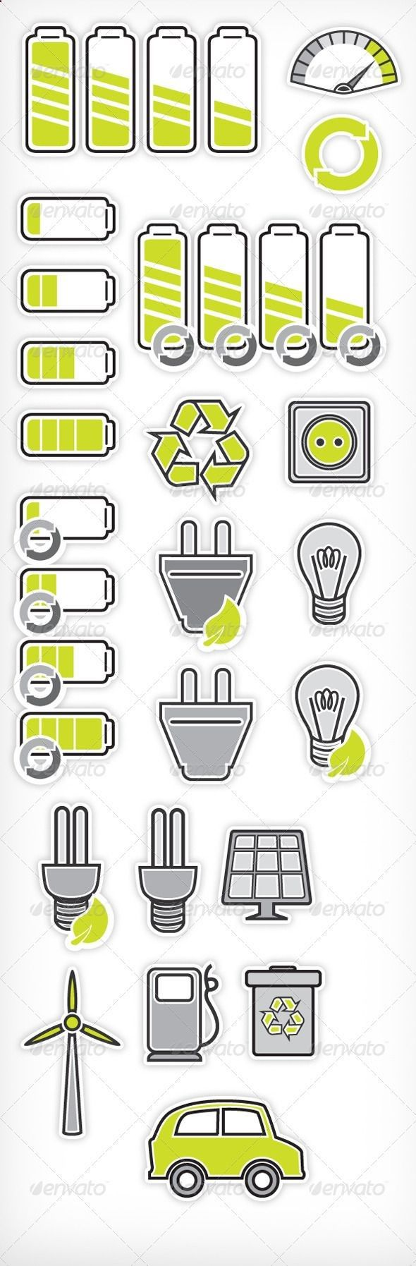 Power Recycling Pictograms #GraphicRiver It's a set of vector power-saving icons with an eco-friendly touch. A good set of icons is very hard to find, because, well, icon design is a job itself. Catching maximum of detail in a minimum of space is no easy task, but this set has achieved this. The lack of gradients will also allow you to recolor the whole pack with just a few clicks. Created: 10September13 GraphicsFilesIncluded: VectorEPS #AIIllustrator Layered: No MinimumAdobeCSVersi