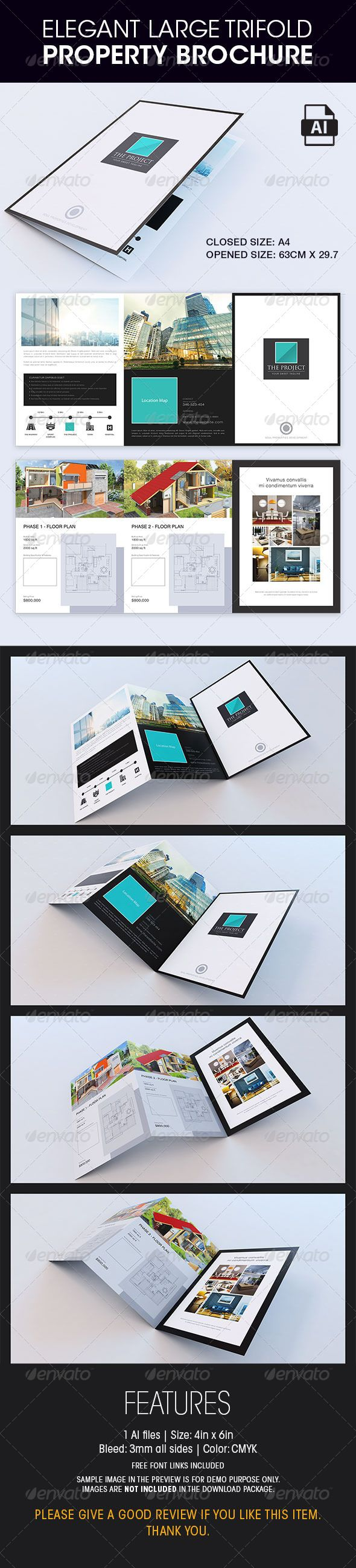 Elegant Large Trifold Property Brochure - Corporate Brochures