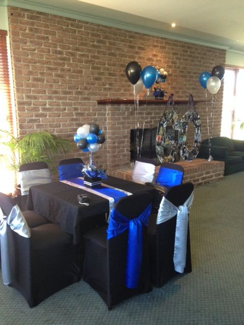 Blue Black And Silver 60th Birthday Decorations