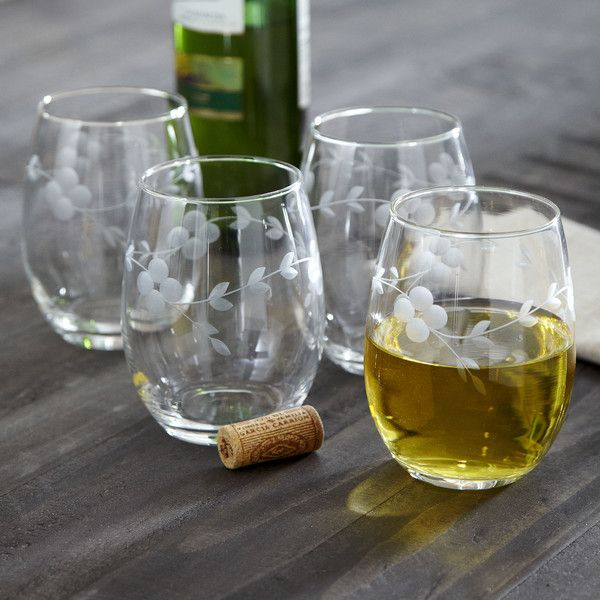 Cassius Stemless Wine Glasses | Less fussy than your traditional wine glass, these stemless glasses are elegant in their simplicity.