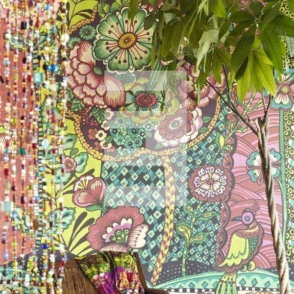 Eijffinger Ibiza Wallpower 330278 geel blauw groen roze kleurrijk behang