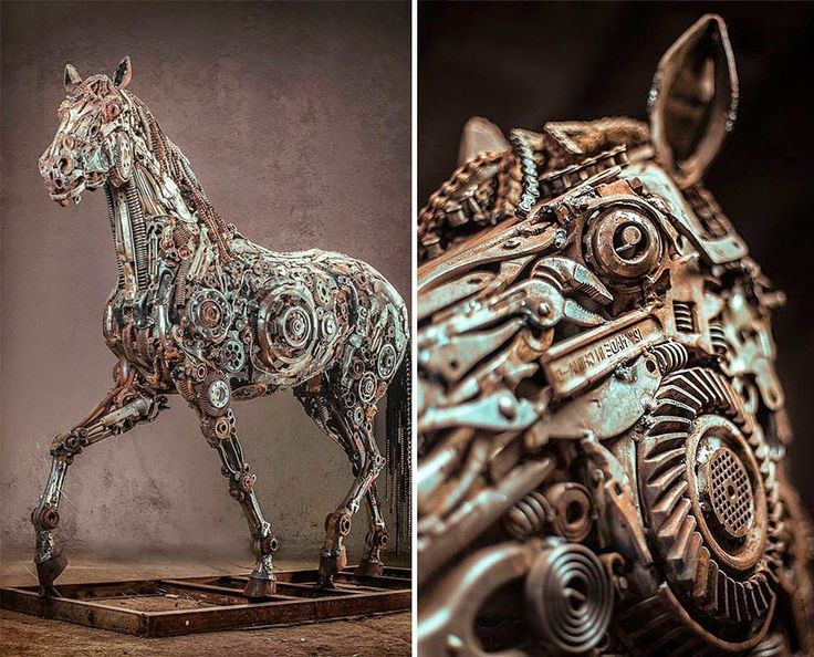 Best Recycled Art Sculpture Images On Pinterest Artists - Artist creates incredible sculptures welding together old farming equipment