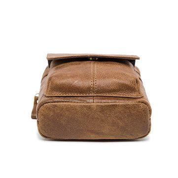 Male Genuine Leather Waist Bag Powerbank Phone Waist Pouch Vintage Small Crossbo - US$25.89