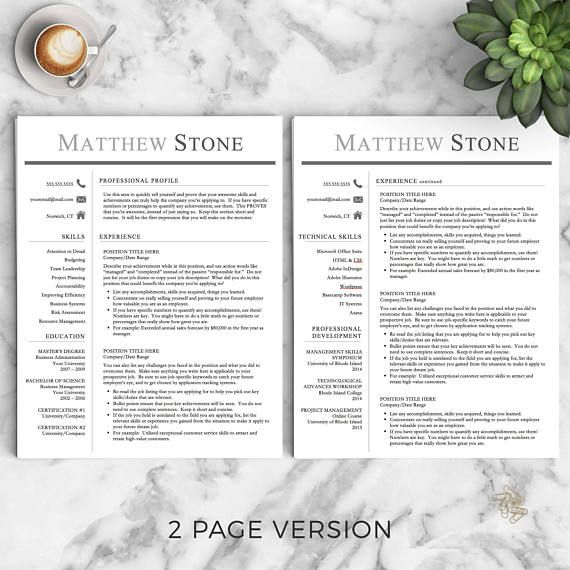 Professional Resume Template for Word & Pages: The Stone - Instant Download - US Letter and A4 sizes included - Mac & PC Compatible using Microsoft Word or Mac Pages - *No font installation required with this template!* __________________ COUPONS: -> 2 Resumes for $25 ($USD)