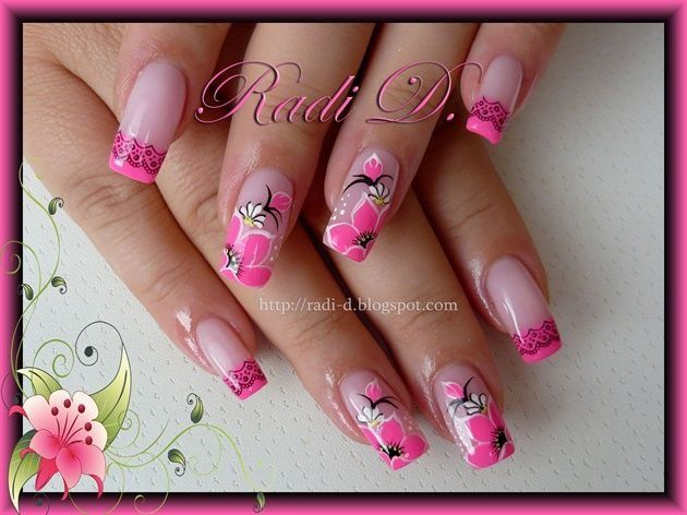 396 best nails images on pinterest nail arts nail art designs its all about nails neon pink tips and flowers prinsesfo Gallery